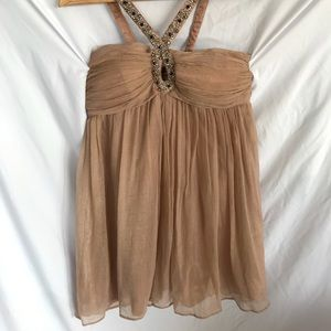 Champagne Crinkle Chiffon Halter Party Dress Sz M